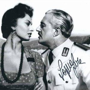 Foto di Sophia Loren con Vittorio De Sica, autografata